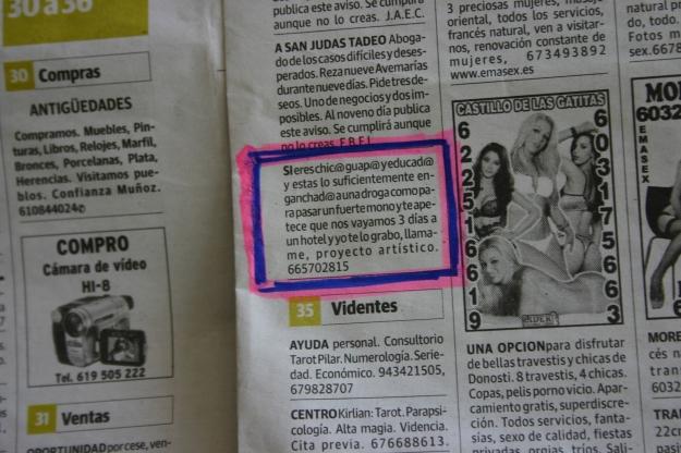 ANUNCIO EN EL PERIÓDICO  2014